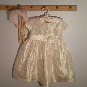 Marmellata Size 3T Solid Ivory Formal Satin Dress